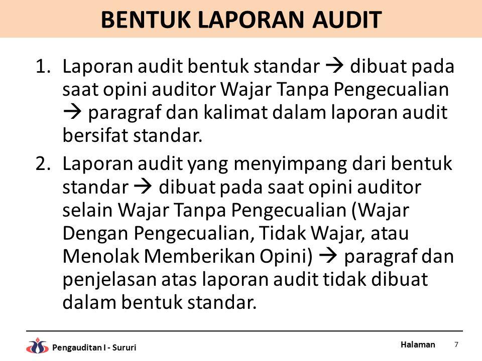 Halaman Pengauditan I - Sururi BENTUK LAPORAN AUDIT 1.Laporan audit bentuk standar  dibuat pada saat opini auditor Wajar Tanpa Pengecualian  paragra