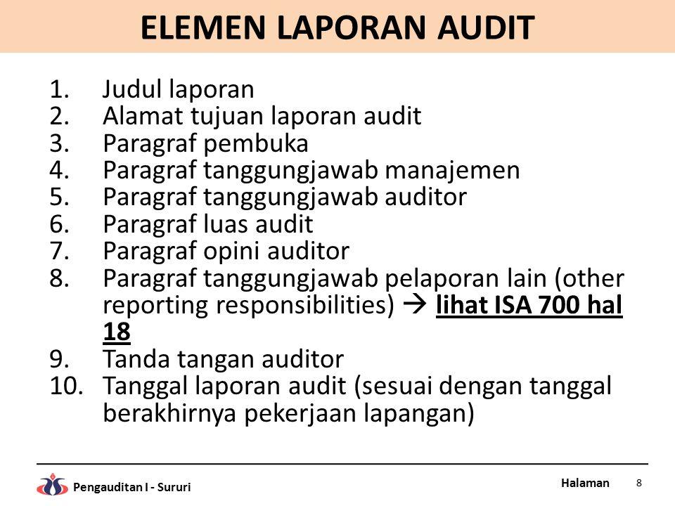 Halaman Pengauditan I - Sururi ELEMEN LAPORAN AUDIT 1.Judul laporan 2.Alamat tujuan laporan audit 3.Paragraf pembuka 4.Paragraf tanggungjawab manajeme