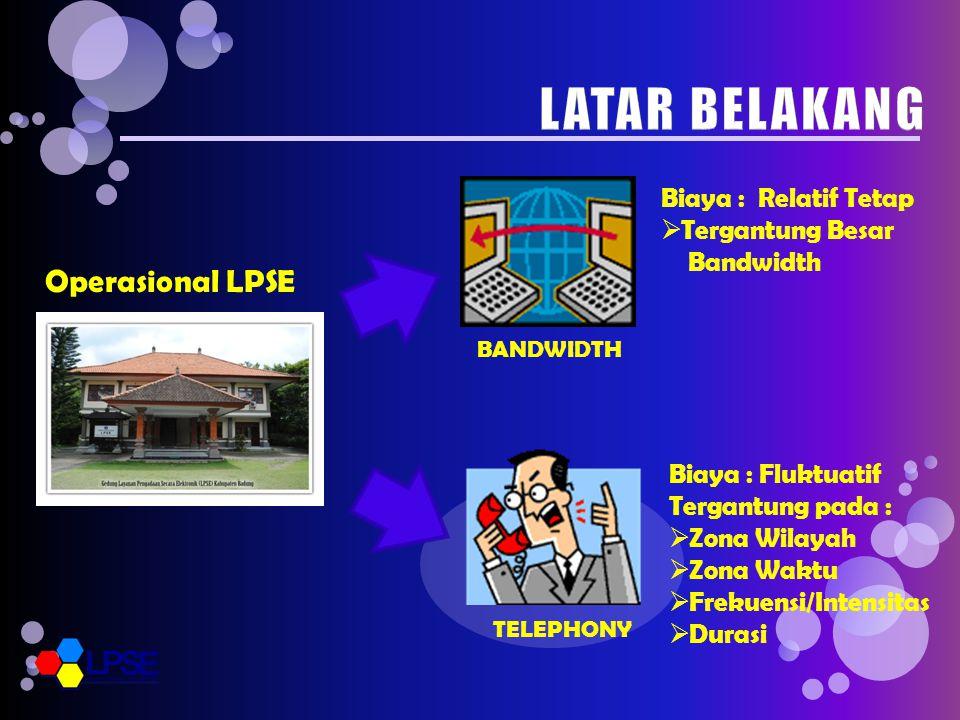 Operasional LPSE BANDWIDTH TELEPHONY Biaya : Relatif Tetap  Tergantung Besar Bandwidth Biaya : Fluktuatif Tergantung pada :  Zona Wilayah  Zona Waktu  Frekuensi/Intensitas  Durasi