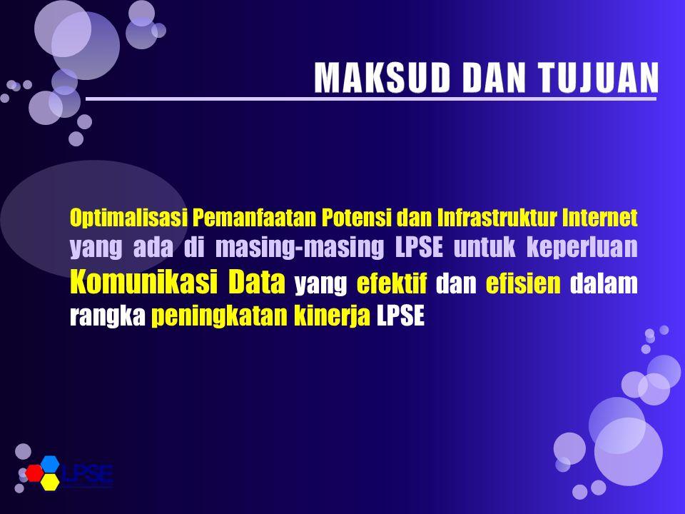 Optimalisasi Pemanfaatan Potensi dan Infrastruktur Internet yang ada di masing-masing LPSE untuk keperluan Komunikasi Data yang efektif dan efisien dalam rangka peningkatan kinerja LPSE