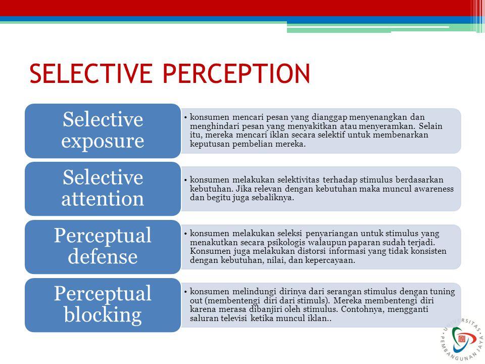 SELECTIVE PERCEPTION konsumen mencari pesan yang dianggap menyenangkan dan menghindari pesan yang menyakitkan atau menyeramkan. Selain itu, mereka men