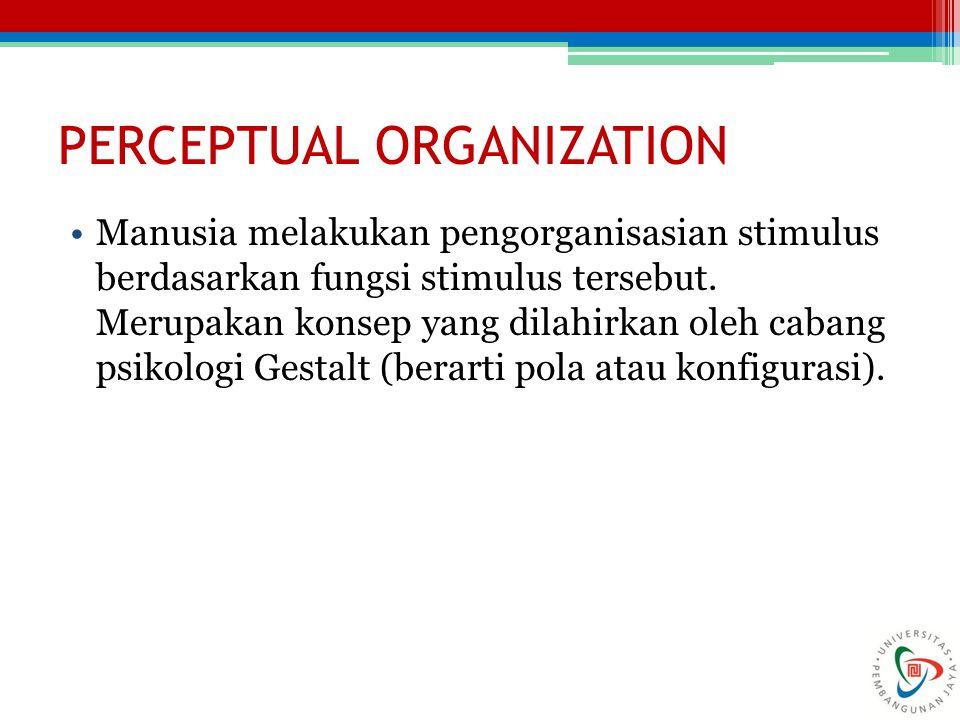 PERCEPTUAL ORGANIZATION Manusia melakukan pengorganisasian stimulus berdasarkan fungsi stimulus tersebut. Merupakan konsep yang dilahirkan oleh cabang