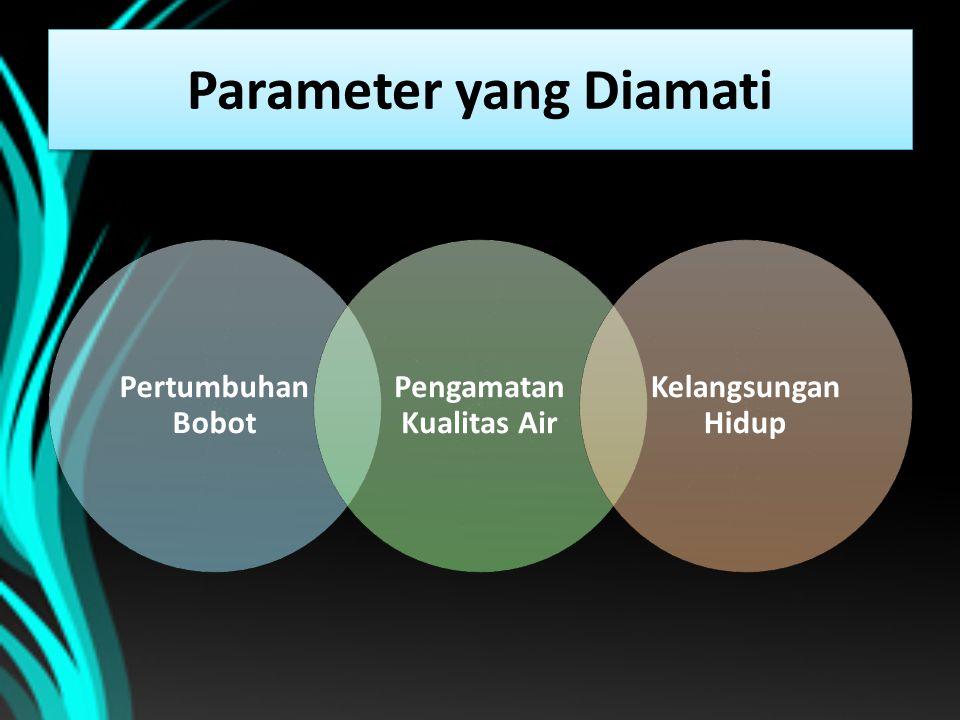 Parameter yang Diamati Pertumbuhan Bobot Pengamatan Kualitas Air Kelangsungan Hidup