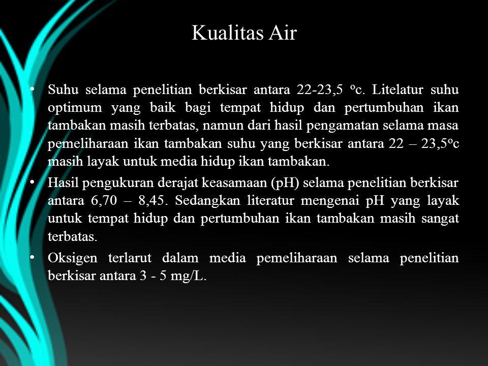 Kualitas Air Suhu selama penelitian berkisar antara 22-23,5 o c. Litelatur suhu optimum yang baik bagi tempat hidup dan pertumbuhan ikan tambakan masi