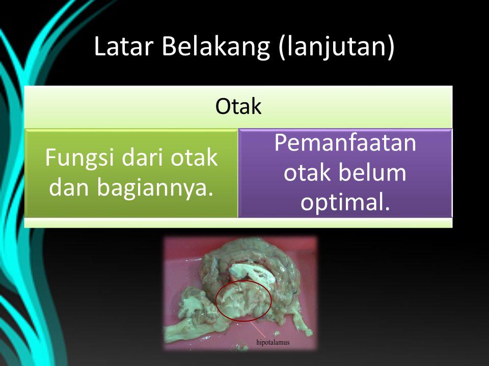 Latar Belakang (lanjutan) Otak Fungsi dari otak dan bagiannya. Pemanfaatan otak belum optimal.