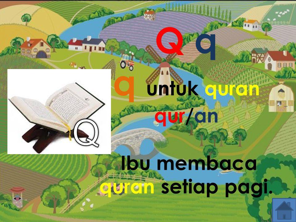 Q q q untuk quran qur/an Ibu membaca quran setiap pagi.