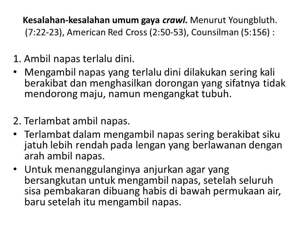 Kesalahan-kesalahan umum gaya crawl. Menurut Youngbluth. (7:22-23), American Red Cross (2:50-53), Counsilman (5:156) : 1. Ambil napas terlalu dini. Me