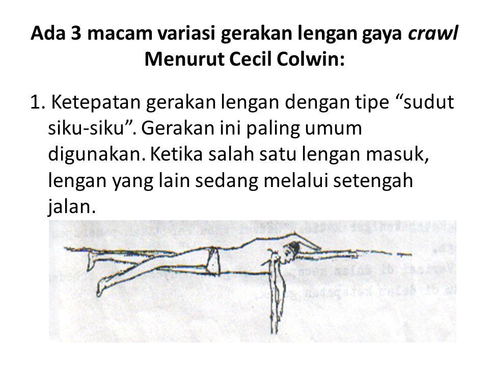 """Ada 3 macam variasi gerakan lengan gaya crawl Menurut Cecil Colwin: 1. Ketepatan gerakan lengan dengan tipe """"sudut siku-siku"""". Gerakan ini paling umum"""