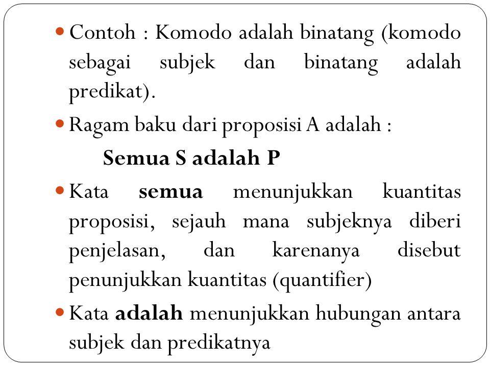 Contoh : Komodo adalah binatang (komodo sebagai subjek dan binatang adalah predikat). Ragam baku dari proposisi A adalah : Semua S adalah P Kata semua