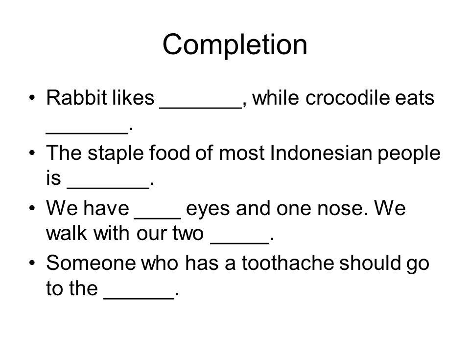 Completion Rabbit likes _______, while crocodile eats _______.