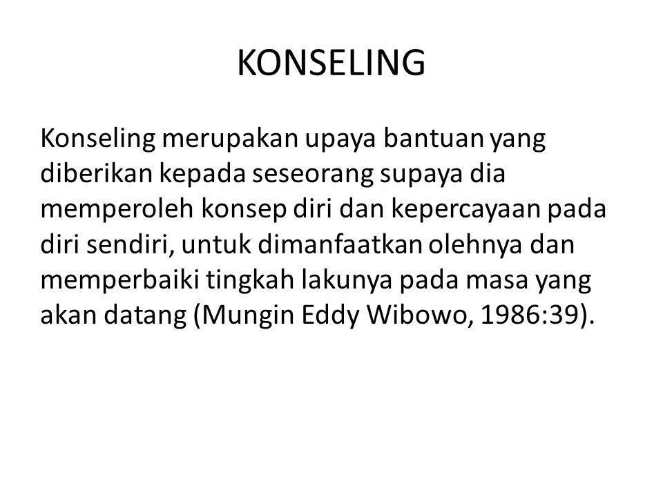 KONSELING Konseling merupakan upaya bantuan yang diberikan kepada seseorang supaya dia memperoleh konsep diri dan kepercayaan pada diri sendiri, untuk dimanfaatkan olehnya dan memperbaiki tingkah lakunya pada masa yang akan datang (Mungin Eddy Wibowo, 1986:39).