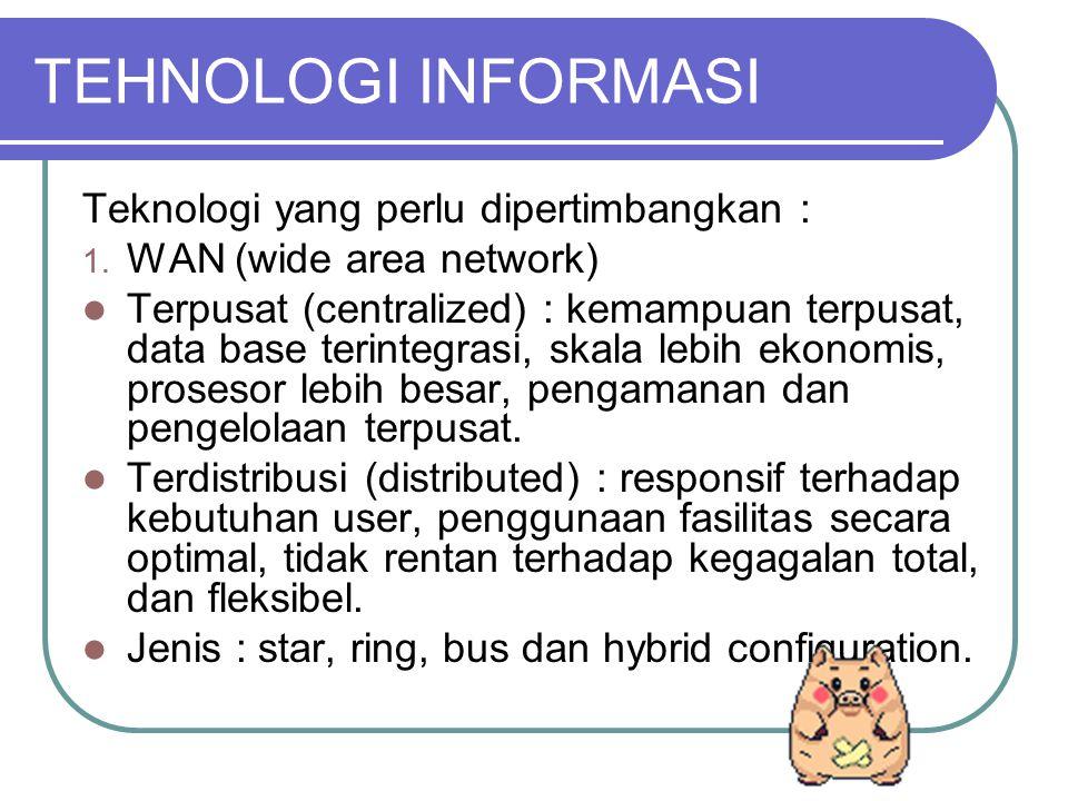 TEHNOLOGI INFORMASI Teknologi yang perlu dipertimbangkan : 1.