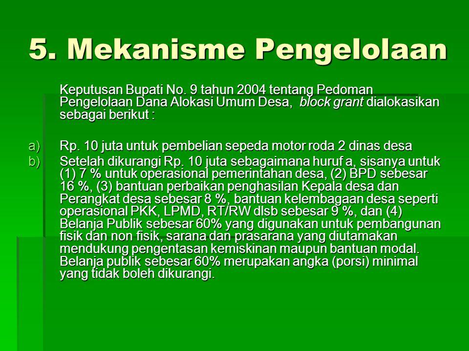 5. Mekanisme Pengelolaan Keputusan Bupati No. 9 tahun 2004 tentang Pedoman Pengelolaan Dana Alokasi Umum Desa, block grant dialokasikan sebagai beriku