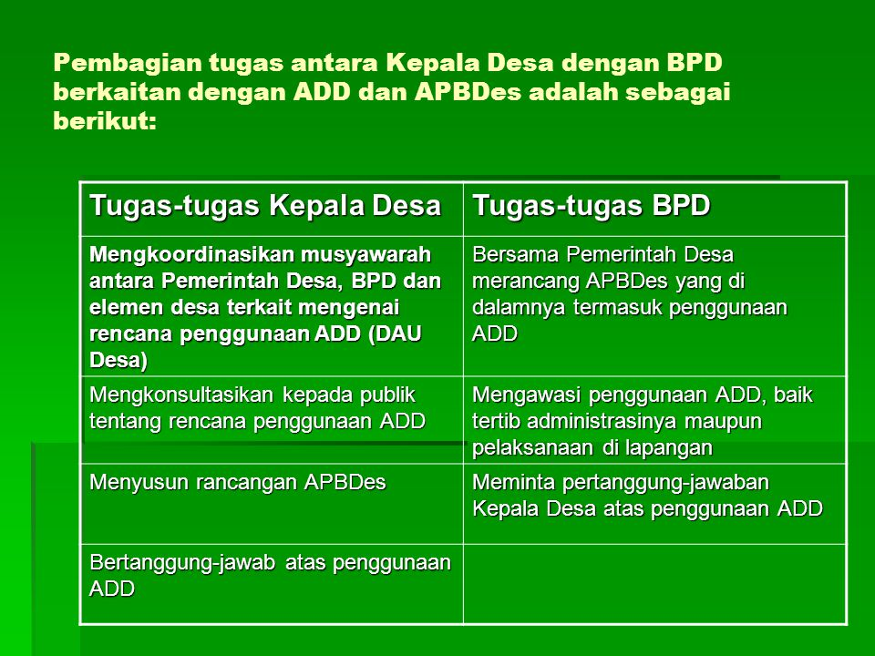 Pembagian tugas antara Kepala Desa dengan BPD berkaitan dengan ADD dan APBDes adalah sebagai berikut: Tugas-tugas Kepala Desa Tugas-tugas BPD Mengkoor