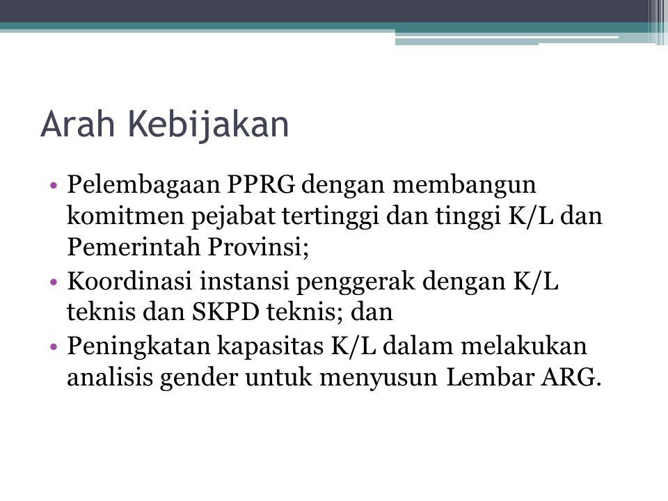 Arah Kebijakan Pelembagaan PPRG dengan membangun komitmen pejabat tertinggi dan tinggi K/L dan Pemerintah Provinsi; Koordinasi instansi penggerak deng