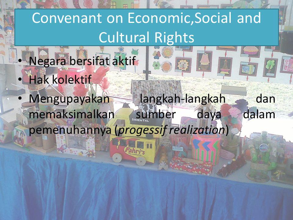 Convenant on Economic,Social and Cultural Rights Negara bersifat aktif Hak kolektif Mengupayakan langkah-langkah dan memaksimalkan sumber daya dalam p