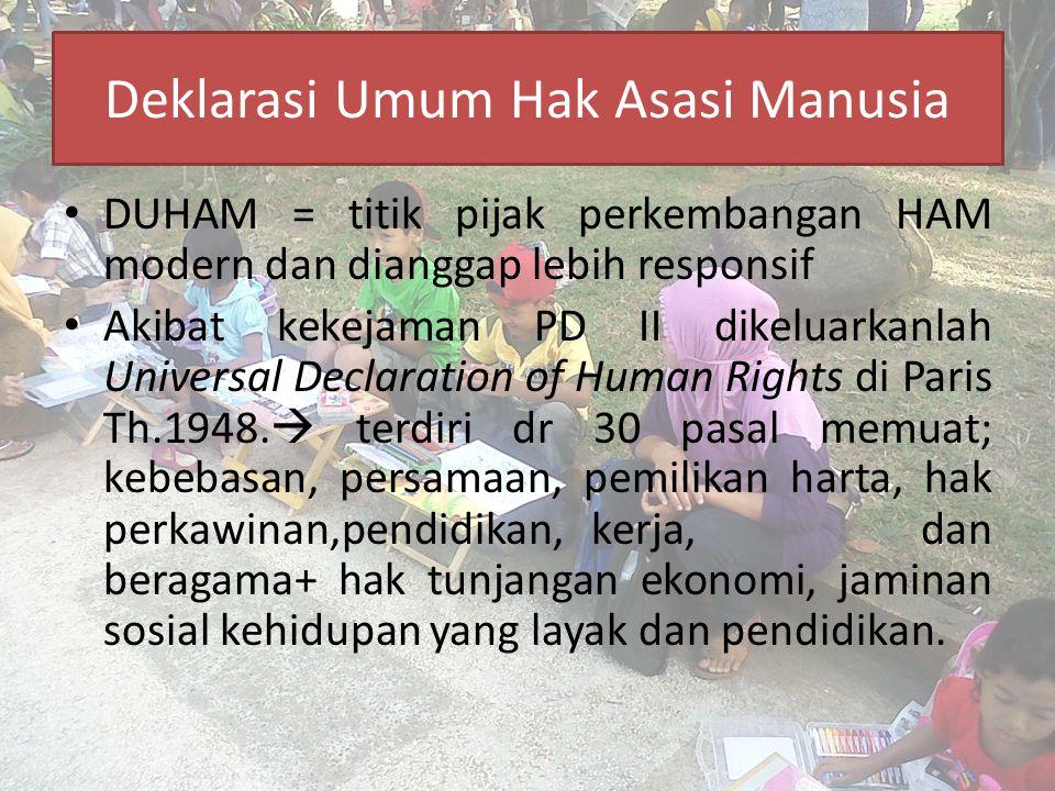Deklarasi Umum Hak Asasi Manusia DUHAM = titik pijak perkembangan HAM modern dan dianggap lebih responsif Akibat kekejaman PD II dikeluarkanlah Univer