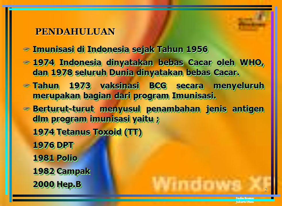2 PENDAHULUAN  Imunisasi di Indonesia sejak Tahun 1956  1974 Indonesia dinyatakan bebas Cacar oleh WHO, dan 1978 seluruh Dunia dinyatakan bebas Cacar.