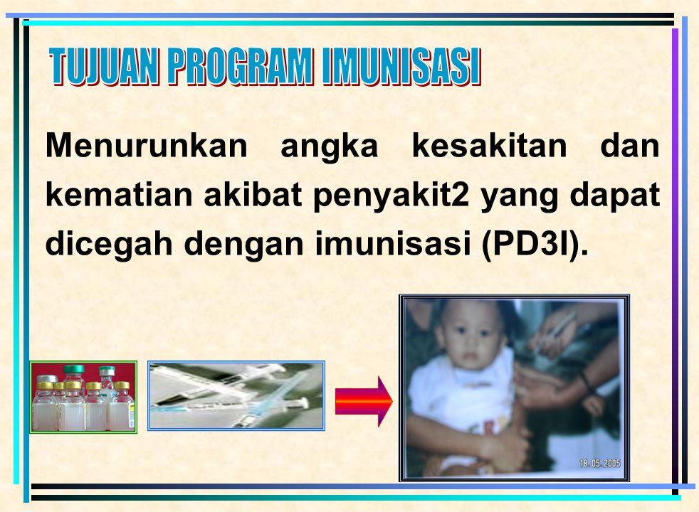 2 PENDAHULUAN  Imunisasi di Indonesia sejak Tahun 1956  1974 Indonesia dinyatakan bebas Cacar oleh WHO, dan 1978 seluruh Dunia dinyatakan bebas Caca