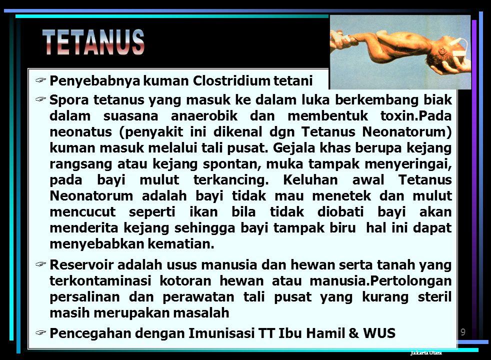 9 Sudin Kesmas Jakarta Utara  Penyebabnya kuman Clostridium tetani  Spora tetanus yang masuk ke dalam luka berkembang biak dalam suasana anaerobik dan membentuk toxin.Pada neonatus (penyakit ini dikenal dgn Tetanus Neonatorum) kuman masuk melalui tali pusat.