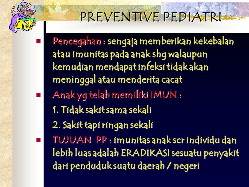 PREVENTIVE PEDIATRI Pencegahan : sengaja memberikan kekebalan atau imunitas pada anak shg walaupun kemudian mendapat infeksi tidak akan meninggal atau menderita cacat Pencegahan : sengaja memberikan kekebalan atau imunitas pada anak shg walaupun kemudian mendapat infeksi tidak akan meninggal atau menderita cacat Anak yg telah memiliki IMUN : Anak yg telah memiliki IMUN : 1.