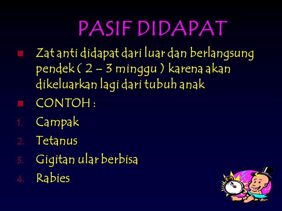 PASIF DIDAPAT Zat anti didapat dari luar dan berlangsung pendek ( 2 – 3 minggu ) karena akan dikeluarkan lagi dari tubuh anak CONTOH : 1.
