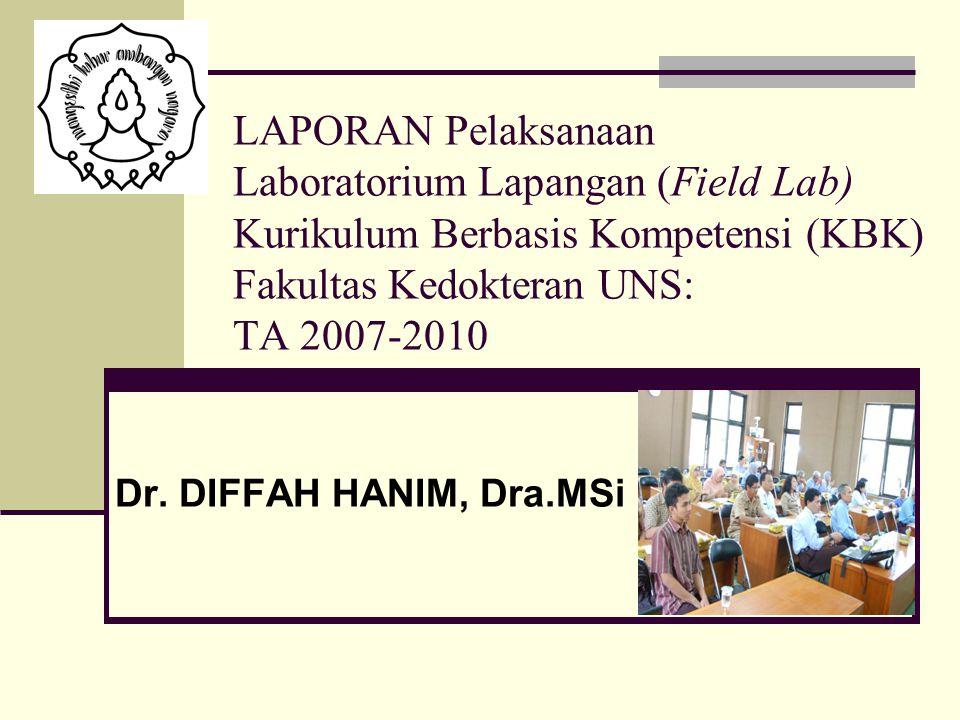 LAPORAN Pelaksanaan Laboratorium Lapangan (Field Lab) Kurikulum Berbasis Kompetensi (KBK) Fakultas Kedokteran UNS: TA 2007-2010 Dr. DIFFAH HANIM, Dra.