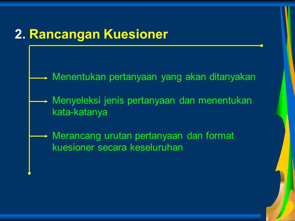 2. Rancangan Kuesioner Menentukan pertanyaan yang akan ditanyakan Menyeleksi jenis pertanyaan dan menentukan kata-katanya Merancang urutan pertanyaan
