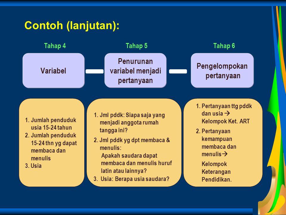 Contoh (lanjutan): Penurunan variabel menjadi pertanyaan Pengelompokan pertanyaan Variabel 1.Jumlah penduduk usia 15-24 tahun 2.Jumlah penduduk 15-24