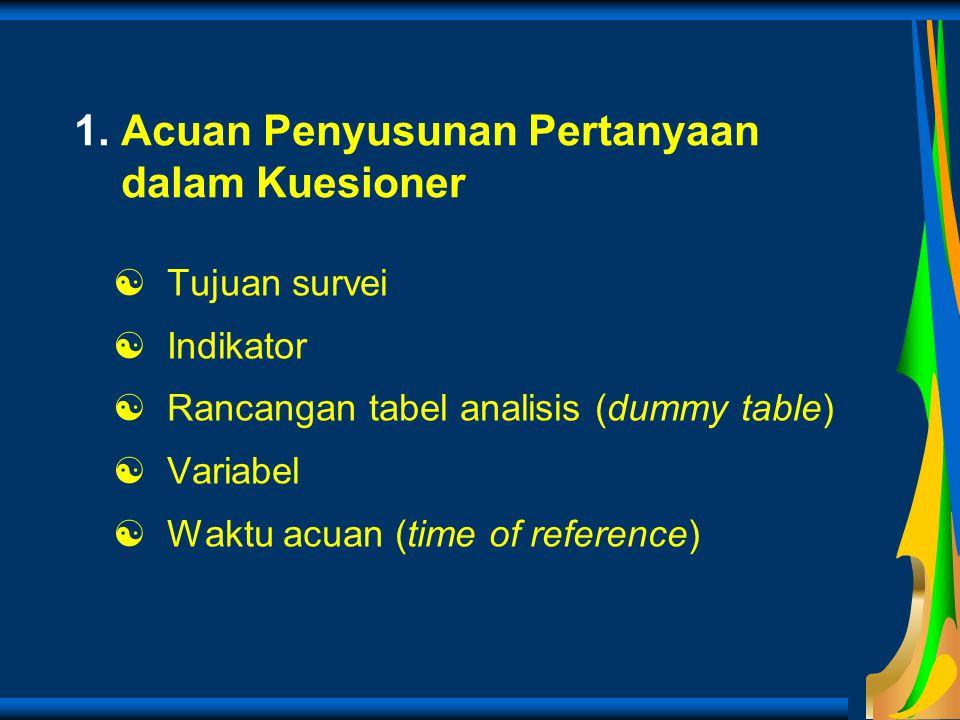 1. Acuan Penyusunan Pertanyaan dalam Kuesioner  Tujuan survei  Indikator  Rancangan tabel analisis (dummy table)  Variabel  Waktu acuan (time of