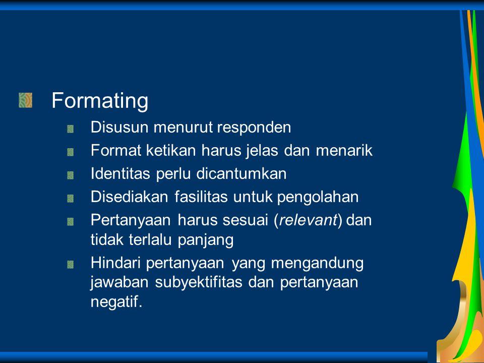 Formating Disusun menurut responden Format ketikan harus jelas dan menarik Identitas perlu dicantumkan Disediakan fasilitas untuk pengolahan Pertanyaa
