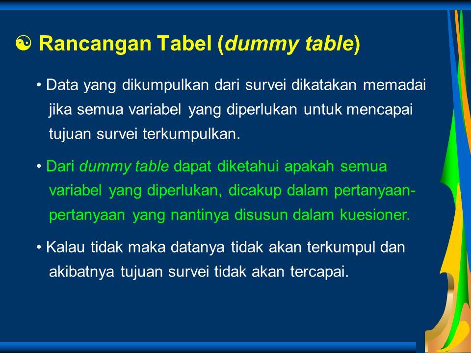 Rancangan Tabel (dummy table) Data yang dikumpulkan dari survei dikatakan memadai jika semua variabel yang diperlukan untuk mencapai tujuan survei t