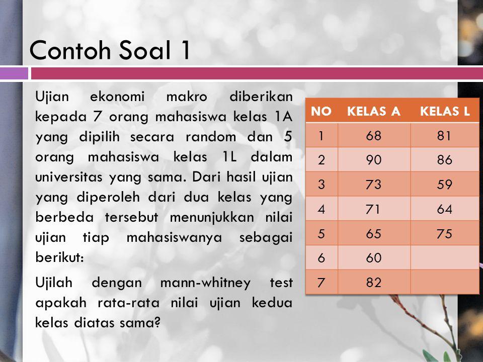 Contoh Soal 1 Ujian ekonomi makro diberikan kepada 7 orang mahasiswa kelas 1A yang dipilih secara random dan 5 orang mahasiswa kelas 1L dalam universi