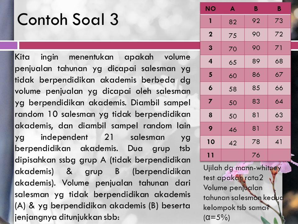 Contoh Soal 3 Kita ingin menentukan apakah volume penjualan tahunan yg dicapai salesman yg tidak berpendidikan akademis berbeda dg volume penjualan yg