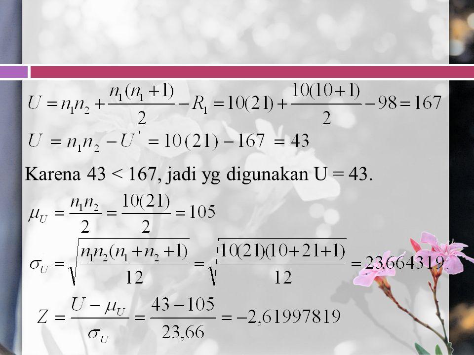 Karena 43 < 167, jadi yg digunakan U = 43.