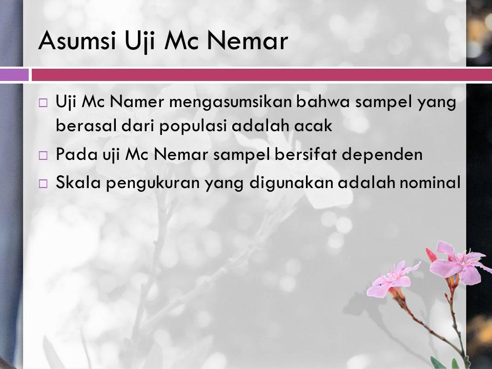 Asumsi Uji Mc Nemar  Uji Mc Namer mengasumsikan bahwa sampel yang berasal dari populasi adalah acak  Pada uji Mc Nemar sampel bersifat dependen  Sk
