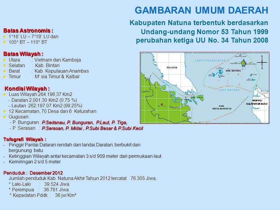 GAMBARAN UMUM DAERAH Kabupaten Natuna terbentuk berdasarkan Undang-undang Nomor 53 Tahun 1999 perubahan ketiga UU No. 34 Tahun 2008 Batas Astronomis :