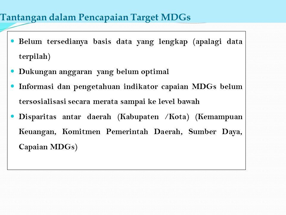 Tantangan dalam Pencapaian Target MDGs Belum tersedianya basis data yang lengkap (apalagi data terpilah) Dukungan anggaran yang belum optimal Informas