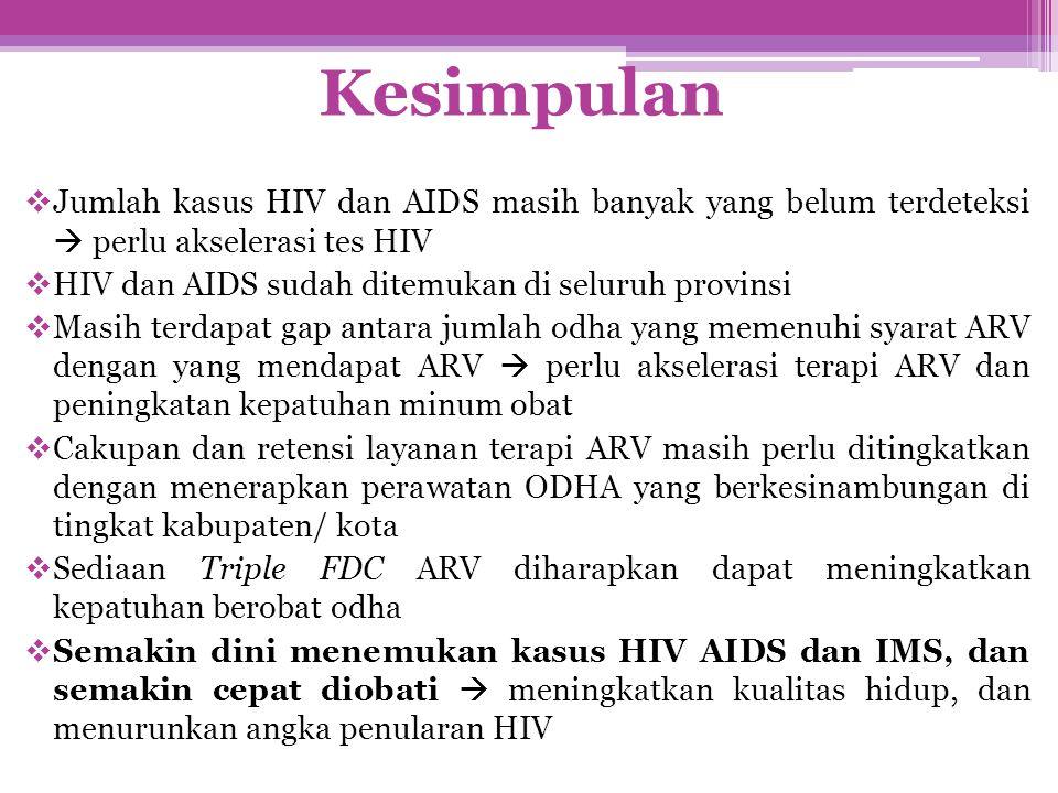  Jumlah kasus HIV dan AIDS masih banyak yang belum terdeteksi  perlu akselerasi tes HIV  HIV dan AIDS sudah ditemukan di seluruh provinsi  Masih t