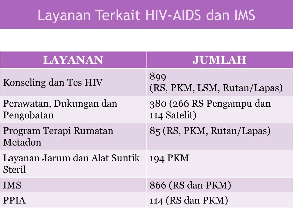 Layanan Terkait HIV-AIDS dan IMS LAYANANJUMLAH Konseling dan Tes HIV 899 (RS, PKM, LSM, Rutan/Lapas) Perawatan, Dukungan dan Pengobatan 380 (266 RS Pe
