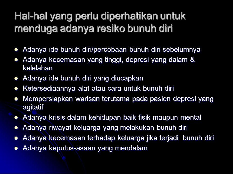 Hal-hal yang perlu diperhatikan untuk menduga adanya resiko bunuh diri Adanya ide bunuh diri/percobaan bunuh diri sebelumnya Adanya ide bunuh diri/per