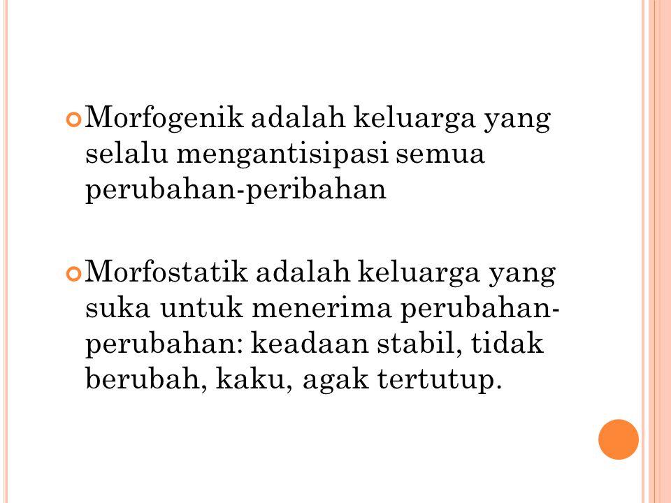 Morfogenik adalah keluarga yang selalu mengantisipasi semua perubahan-peribahan Morfostatik adalah keluarga yang suka untuk menerima perubahan- peruba