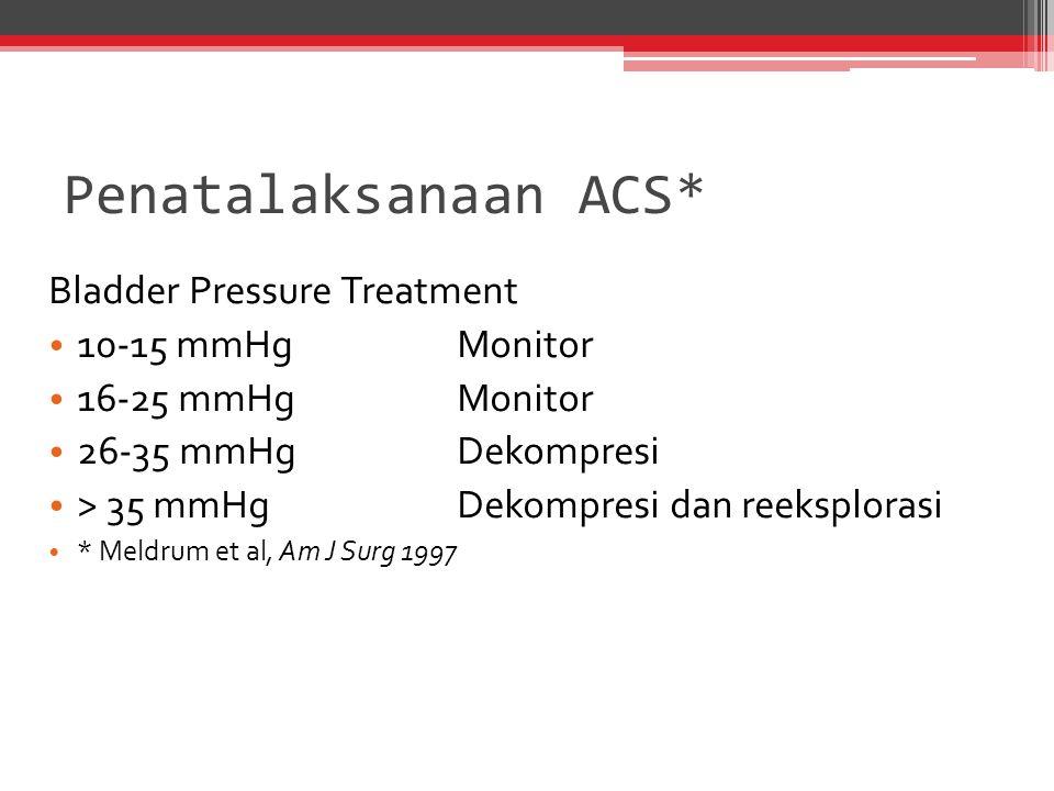 Penatalaksanaan ACS* Bladder Pressure Treatment 10-15 mmHg Monitor 16-25 mmHg Monitor 26-35 mmHg Dekompresi > 35 mmHg Dekompresi dan reeksplorasi * Me