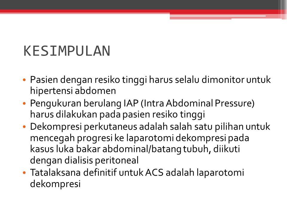 Pasien dengan resiko tinggi harus selalu dimonitor untuk hipertensi abdomen Pengukuran berulang IAP (Intra Abdominal Pressure) harus dilakukan pada pa