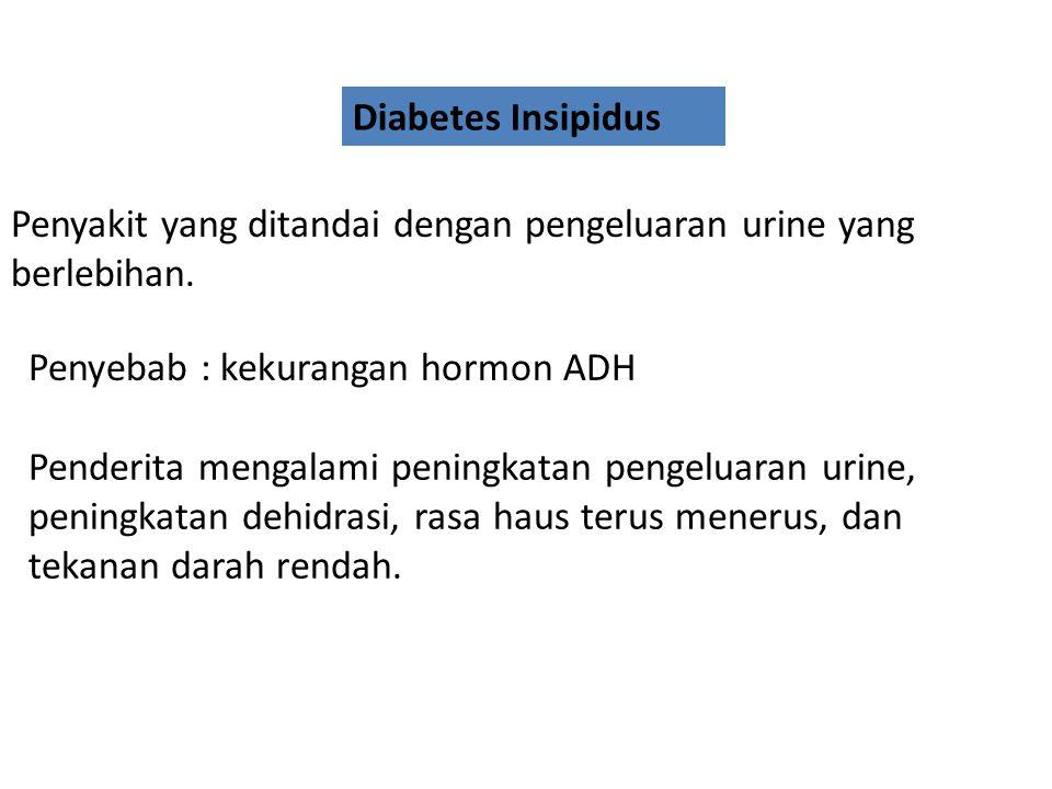 Diabetes melitus atau kencing manis Penyakit yang ditandai adanya kadar gula (glukosa) yang tinggi dalam darah Penderita banyak mengeluarkan urine, me