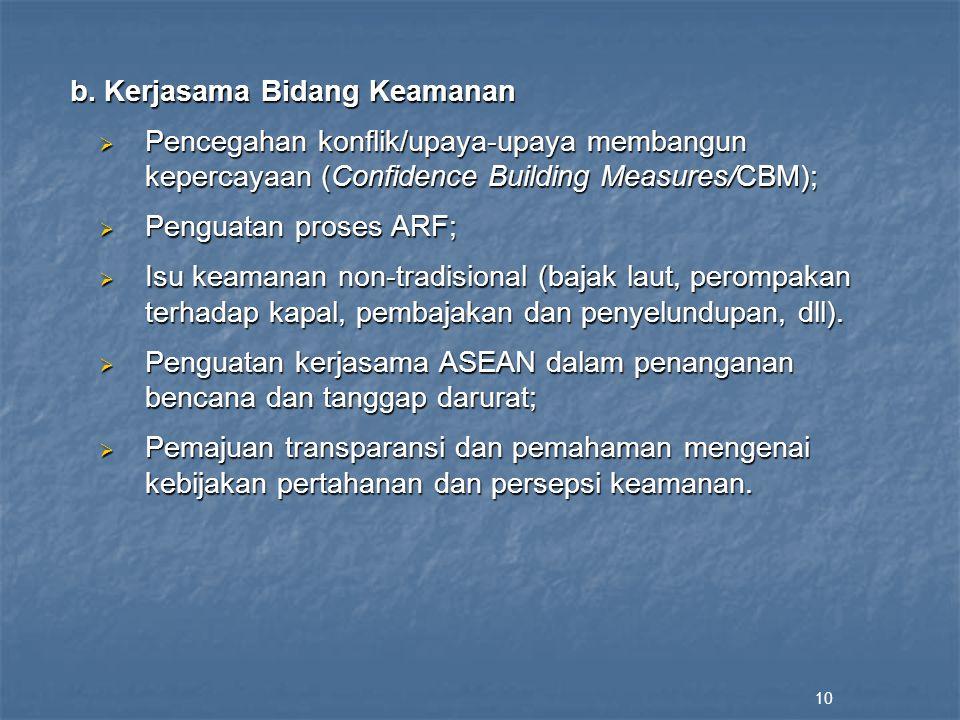 b. Kerjasama Bidang Keamanan  Pencegahan konflik/upaya-upaya membangun kepercayaan (Confidence Building Measures/CBM);  Penguatan proses ARF;  Isu