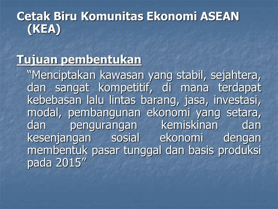 Cetak Biru Komunitas Ekonomi ASEAN (KEA) Tujuan pembentukan Menciptakan kawasan yang stabil, sejahtera, dan sangat kompetitif, di mana terdapat kebebasan lalu lintas barang, jasa, investasi, modal, pembangunan ekonomi yang setara, dan pengurangan kemiskinan dan kesenjangan sosial ekonomi dengan membentuk pasar tunggal dan basis produksi pada 2015