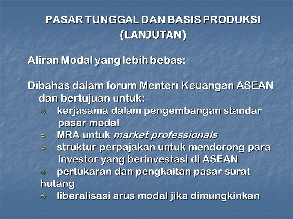 PASAR TUNGGAL DAN BASIS PRODUKSI (LANJUTAN) Aliran Modal yang lebih bebas: Dibahas dalam forum Menteri Keuangan ASEAN dan bertujuan untuk:  kerjasama dalam pengembangan standar pasar modal pasar modal  MRA untuk market professionals  struktur perpajakan untuk mendorong para investor yang berinvestasi di ASEAN investor yang berinvestasi di ASEAN  pertukaran dan pengkaitan pasar surat hutang  liberalisasi arus modal jika dimungkinkan
