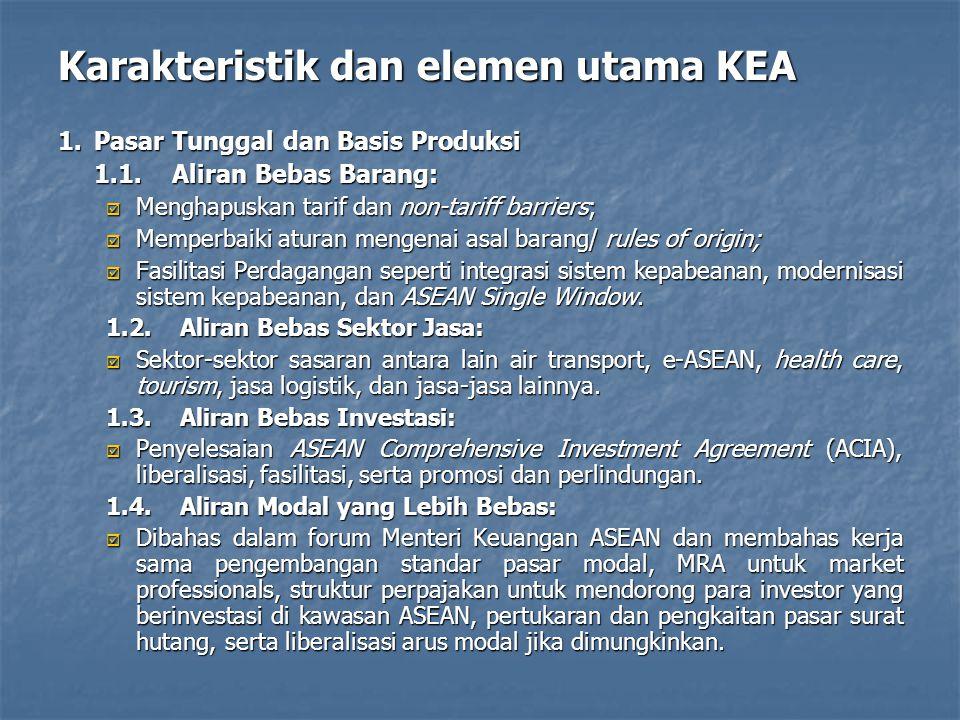 Karakteristik dan elemen utama KEA 1.Pasar Tunggal dan Basis Produksi 1.1.