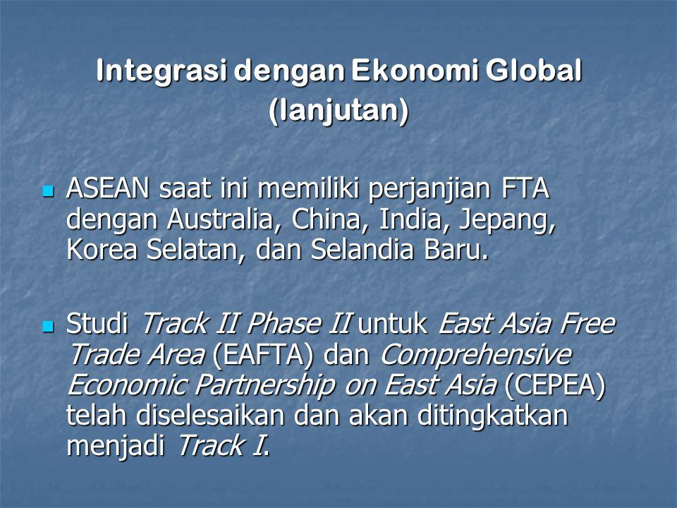 Integrasi dengan Ekonomi Global (lanjutan) ASEAN saat ini memiliki perjanjian FTA dengan Australia, China, India, Jepang, Korea Selatan, dan Selandia Baru.